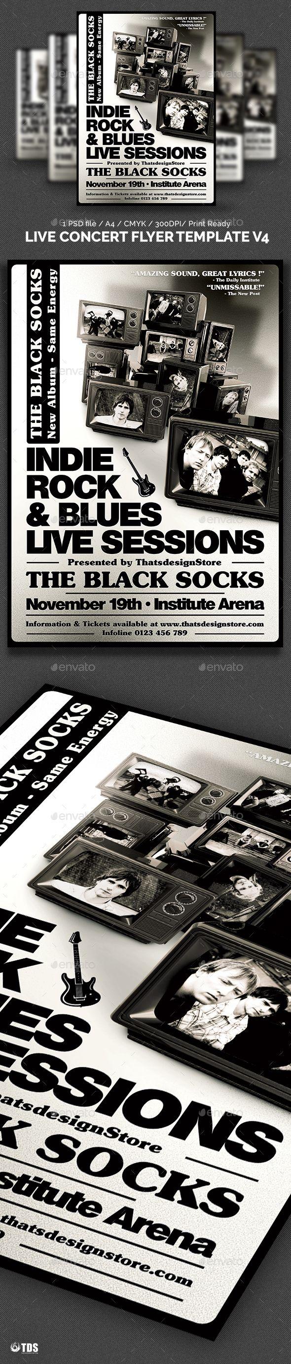 Live Concert Flyer Template V4 | Concert flyer, Flyer template and ...