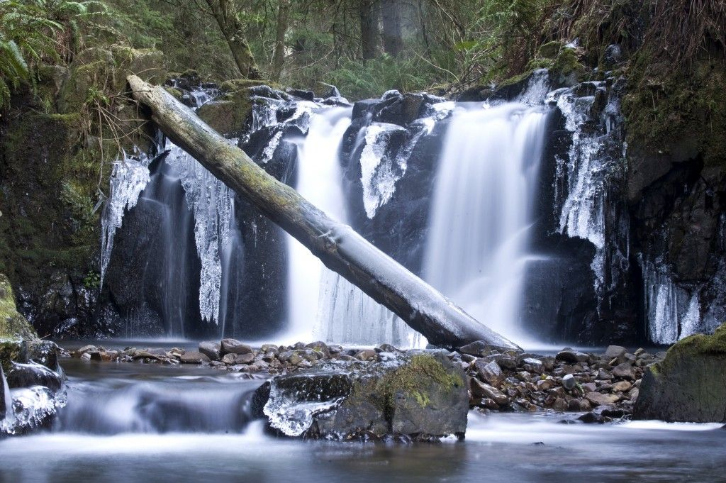 Water Cascades Down A Waterfall On Canyon Creek Above Indian Beach In Ecola State Park The Winter Chilly Weather Created Icicles Hanging From