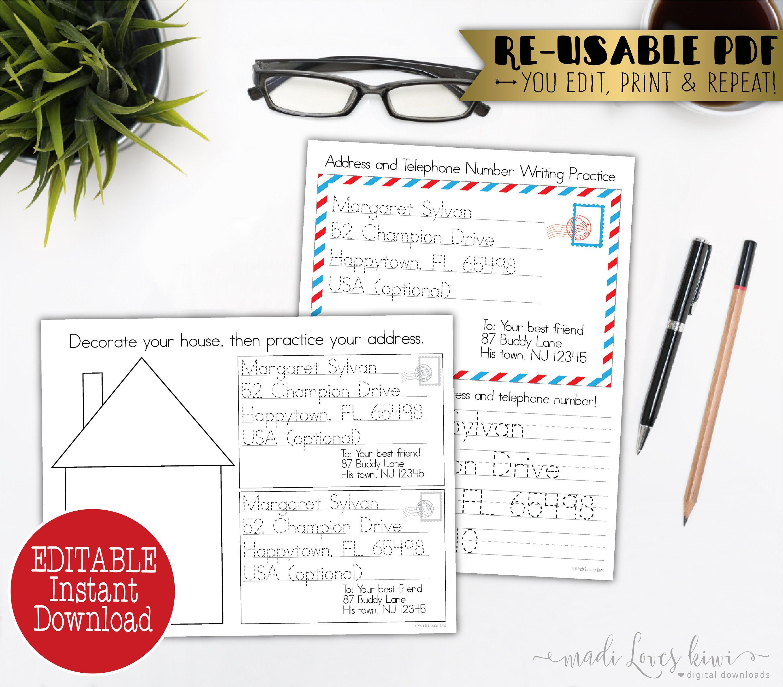 Editable Learn My Address Worksheet Addressing Envelope Etsy Addressing Envelopes Handwriting Practice Worksheets Practices Worksheets [ 2629 x 3000 Pixel ]