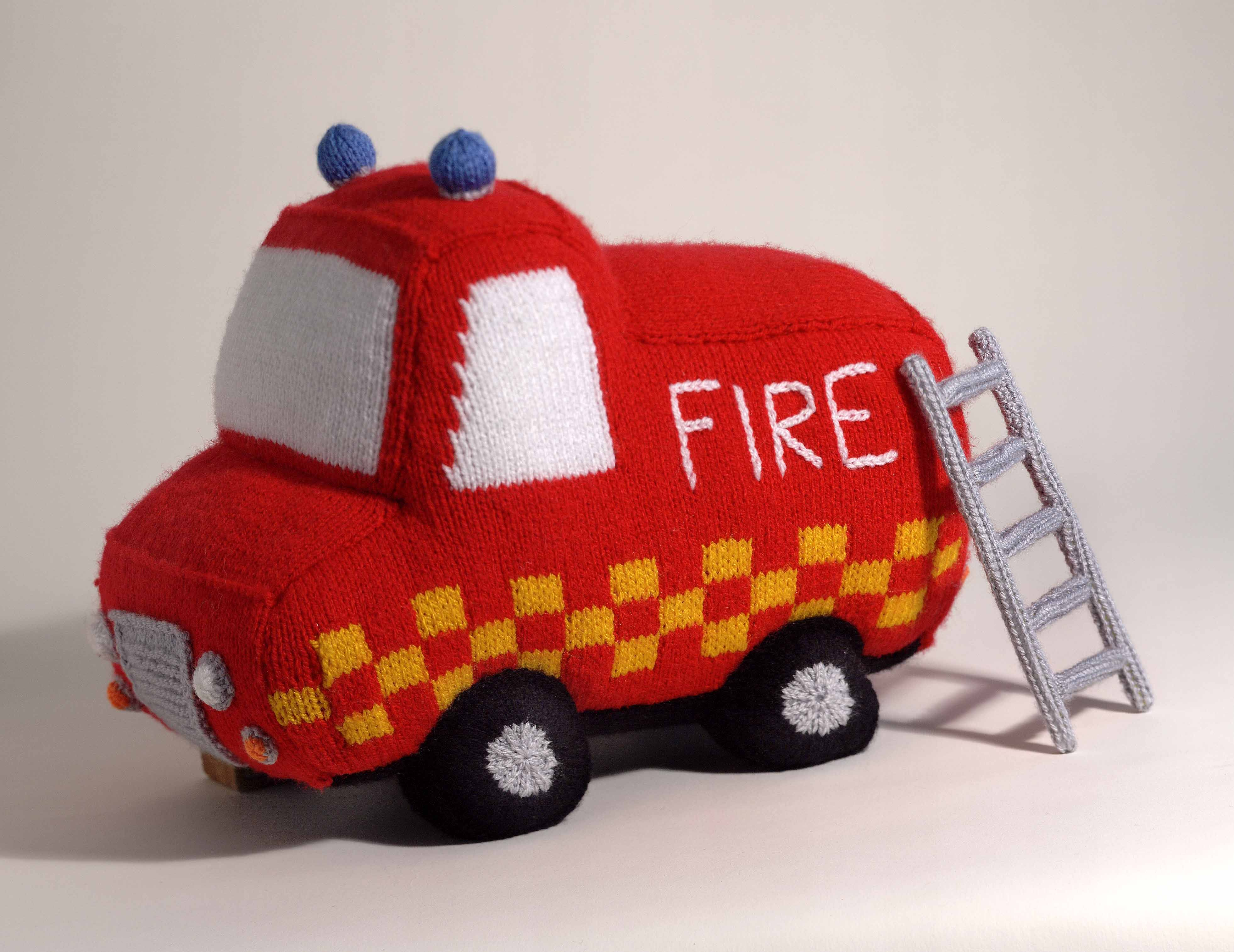 """Firetruck from """"Knitted Toys"""" by Jody Long"""