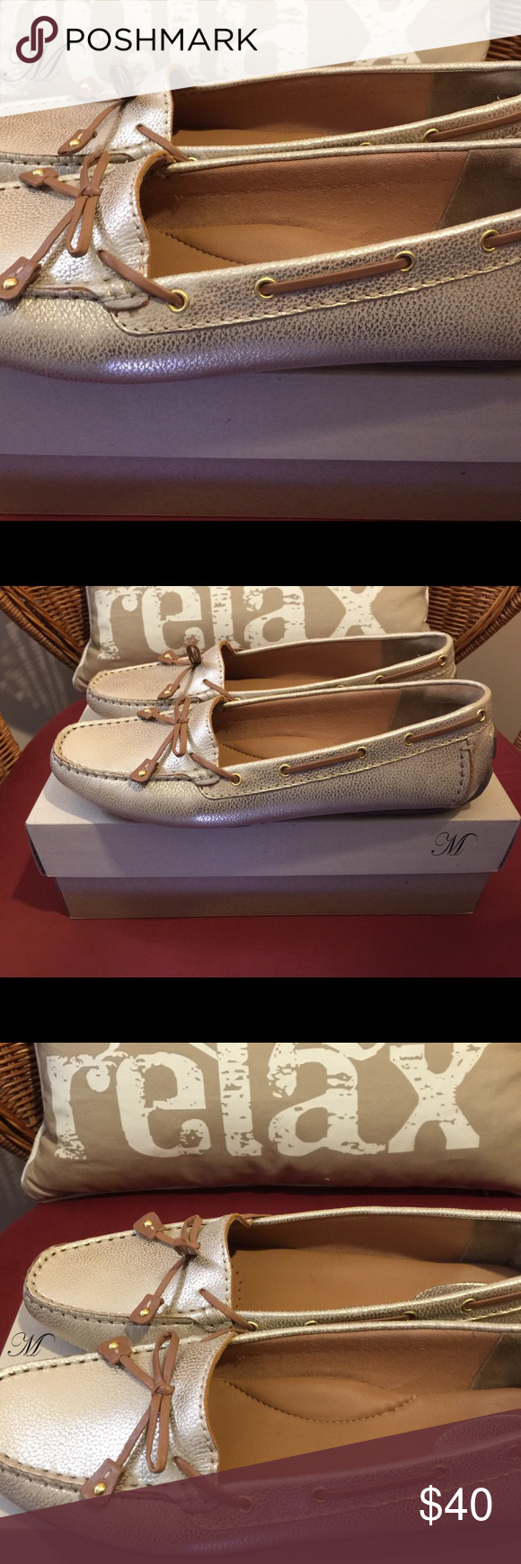 Clarks Gold Dunbar Racer Moccasin These gold leather Clarks moccasins have never been worn. Because of the color, they will match just about any casual outfit. Clarks Shoes Moccasins