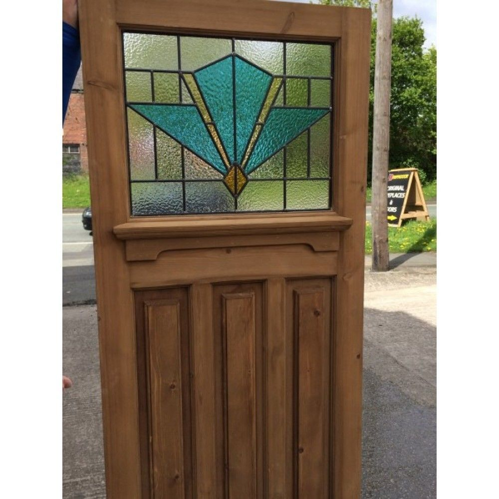1930s Original Reclaimed Exterior Pine Front Door With Stained Glass