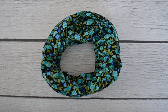 Blue and Black Floral Toddler and Child Infinity Scarf