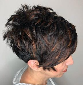 spiky black pixie with copper highlights  short shag