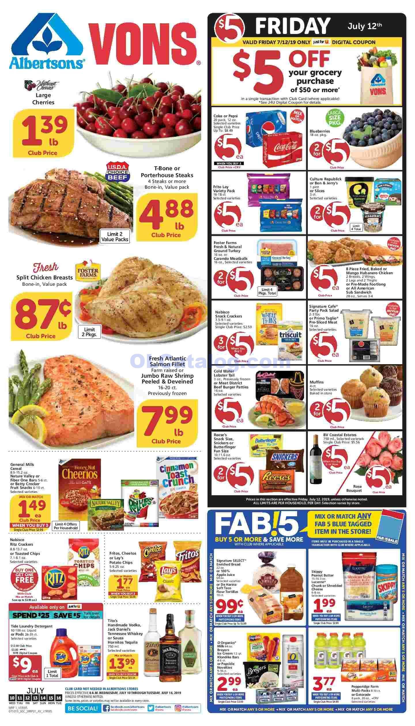 Vons 5 Dollar Friday Sale Ad March 13, 2020