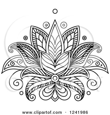 Clipart of a Seamless Pattern Background of Henna Lotus Flowers ...