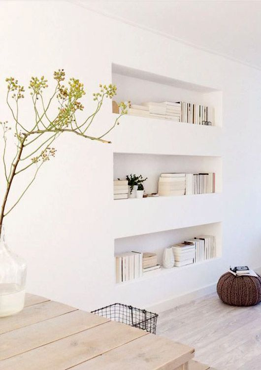 inset wall shelves