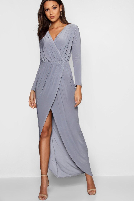 Tall Slinky Wrap Maxi Dress Boohoo Maxi Wrap Dress Maxi Dress Dresses [ 1500 x 1000 Pixel ]