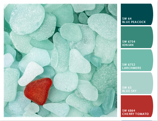 coastal decor color palette teal sea glass - Home Decor Color Palettes