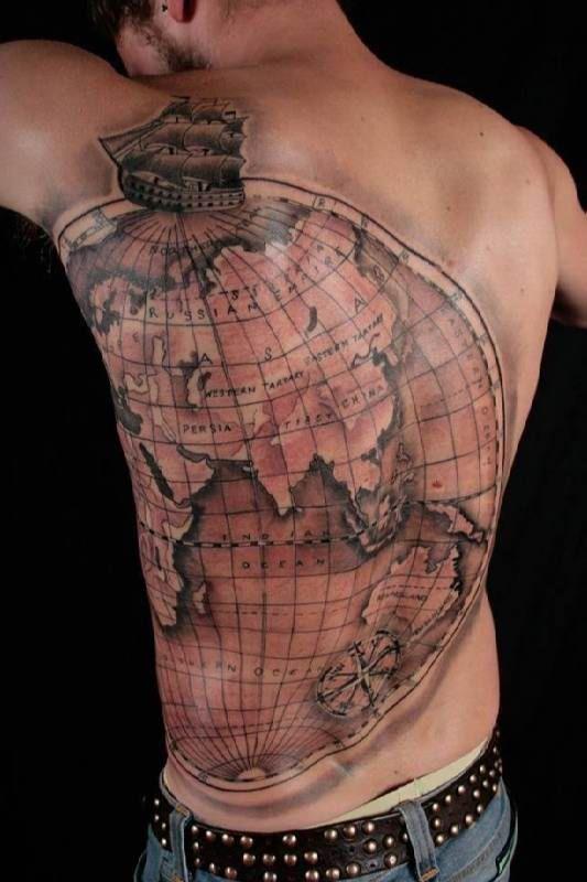 Globe Tattoo with ship   #Tattoo, #Tattooed, #Tattoos