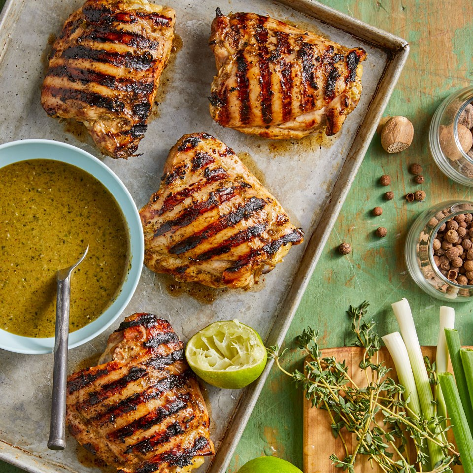 Grilled Chicken Thighs With Jerk Sauce