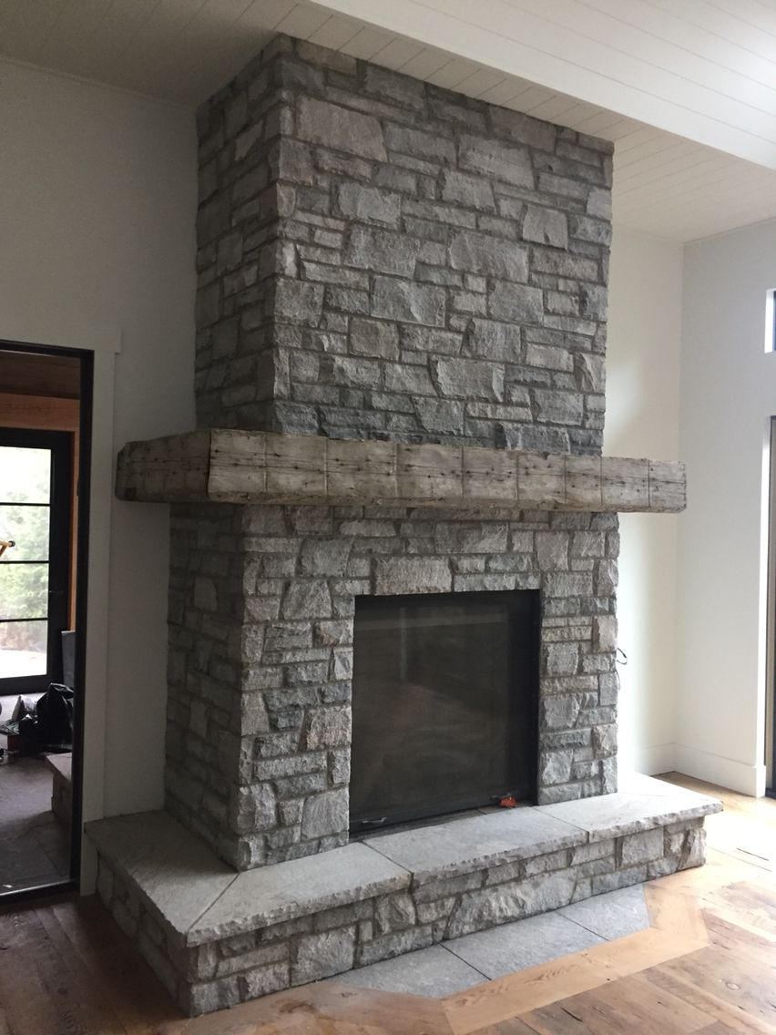 Muskoka Granite Ashlar Medium Grey Mix Complete With Barn Beam Timber Mantel Another Project By Grey Stone Fireplace Natural Stone Fireplaces Stone Fireplace