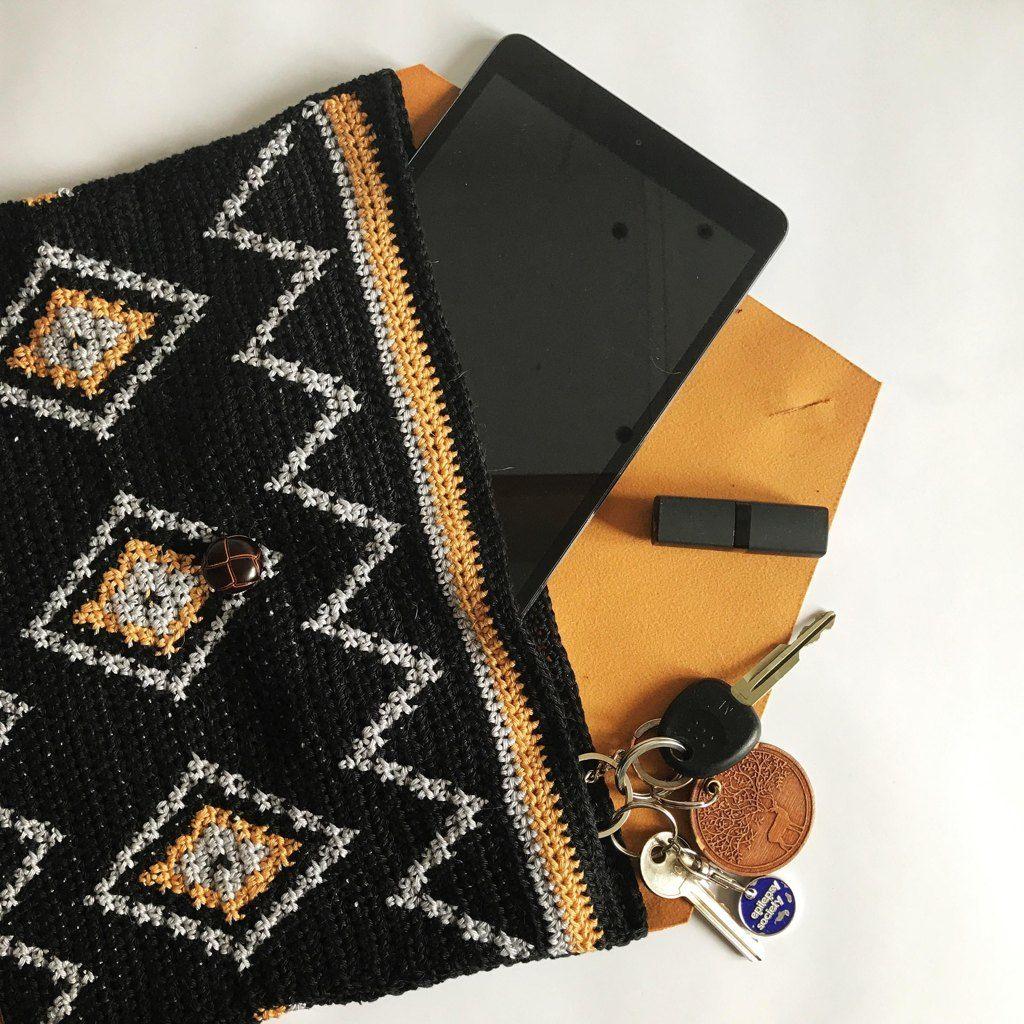 Tribal Leather Clutch Crochet Pattern By Miss B S Emporium Crochet Bag Crochet Shell Stitch Crochet Pouch