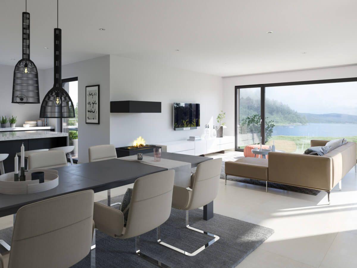 modernes wohnzimmer offen mit esstisch & küche