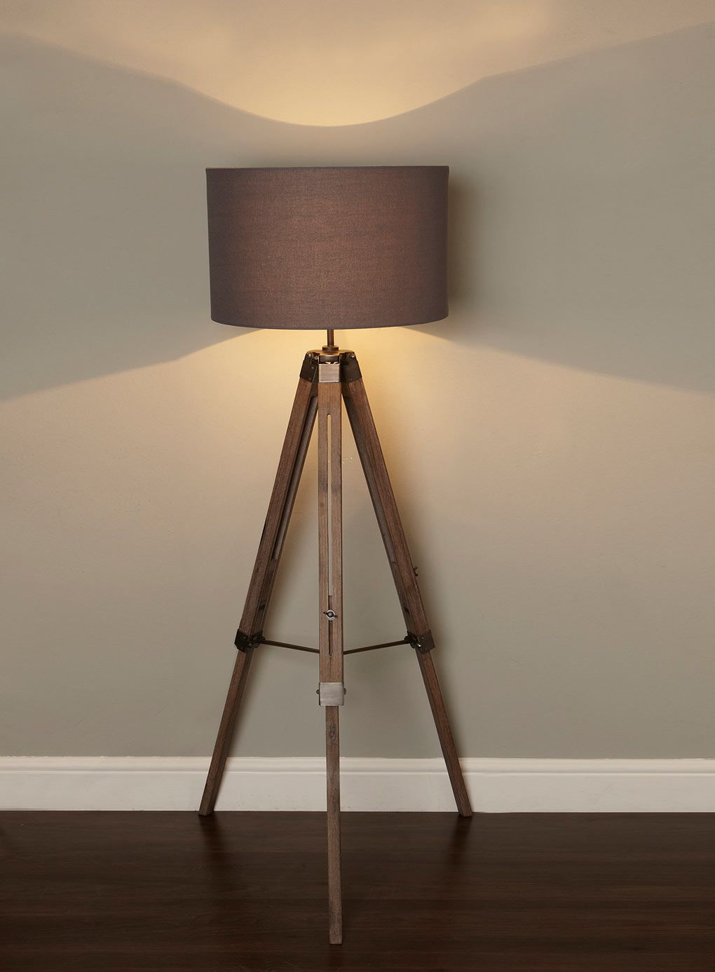 Harley tripod floor lamp can be adjusted in hight plus has light bhs illuminate harley tripod floor lamp industrial wooden antique style floor light where is the cord aloadofball Gallery
