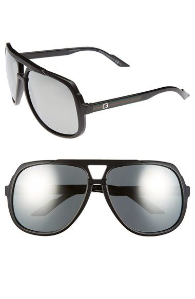 81112fd920b Gucci Logo Temple 63mm Aviator Sunglasses available at  Nordstrom ...
