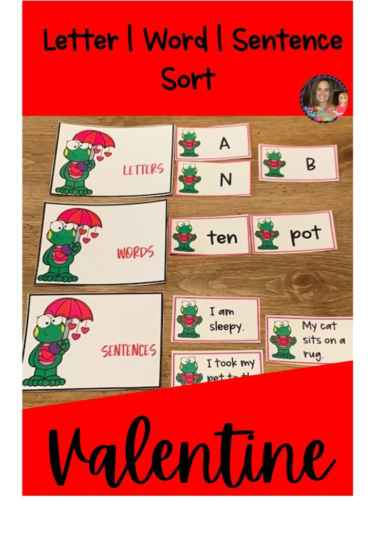 Letter Word Sentence Sort Valentine Theme in 2020
