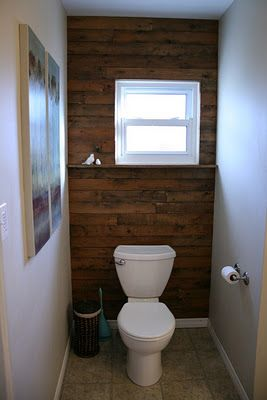 Rustic Wood Wall Love This Could Use Pallets Maybe Not In The Bathroom Rustic Wood Walls Wood Wall Wood Accent Wall