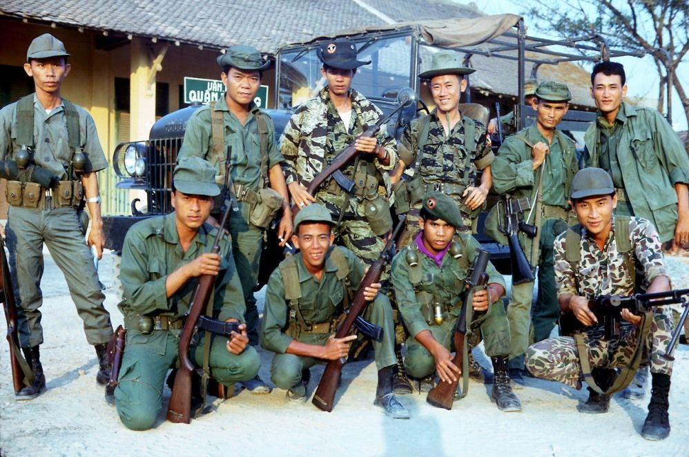 South Vietnamese troops showing a variety of weapons and