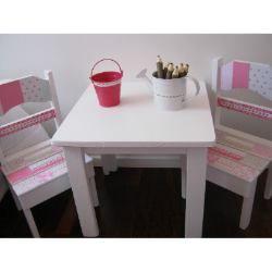 Mesa y sillitas de madera para ni os infantiles shabby - Mesas madera ninos ...