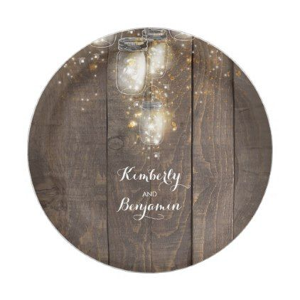 Mason Jar Firefly Lighting Rustic Wedding Paper Plate | Wedding ...