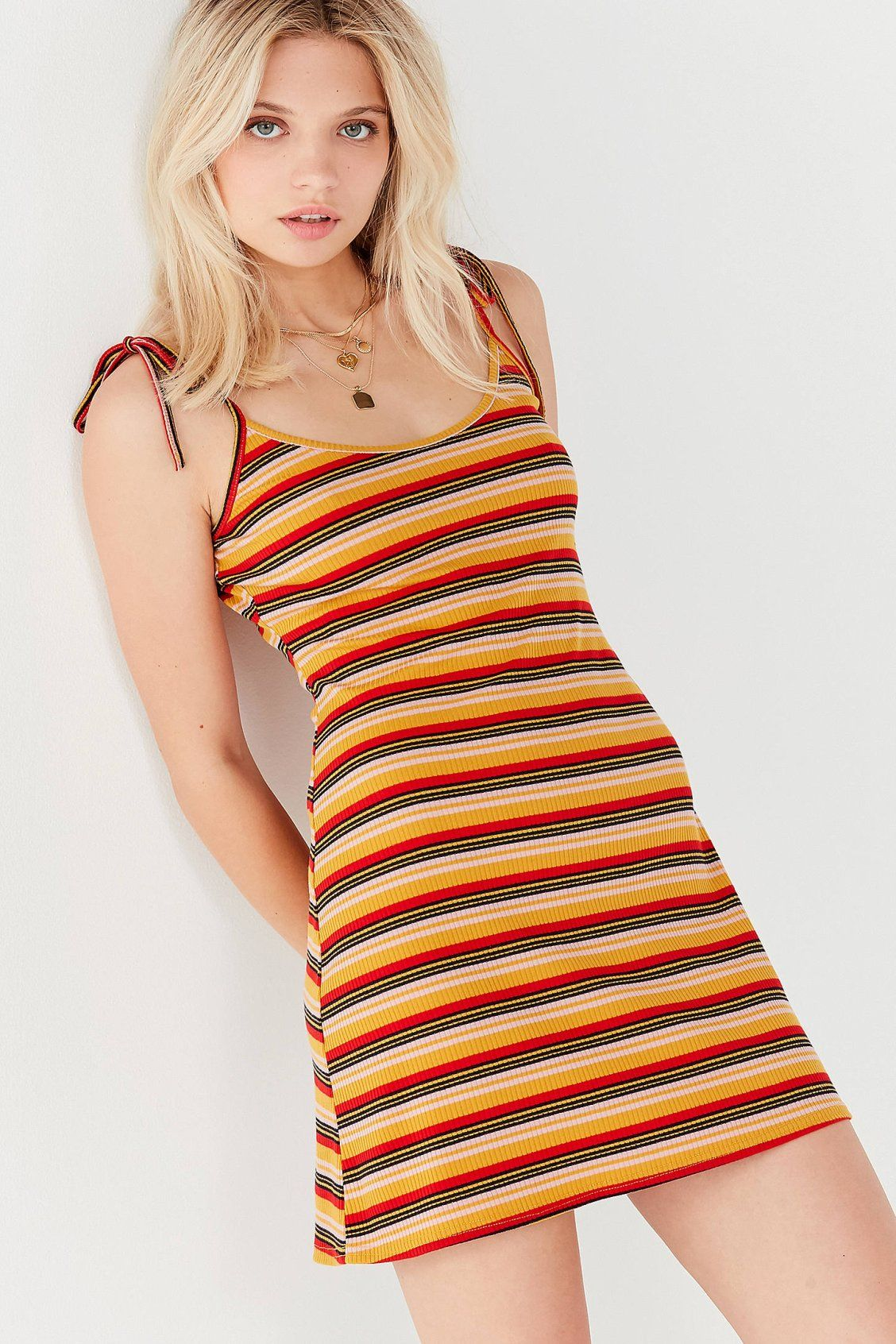 140fac7a50a7 UO Maddie Tie-Strap Striped Dress | New Arrivals | Dresses, Striped ...