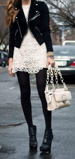 Black Leather + Cream Lace
