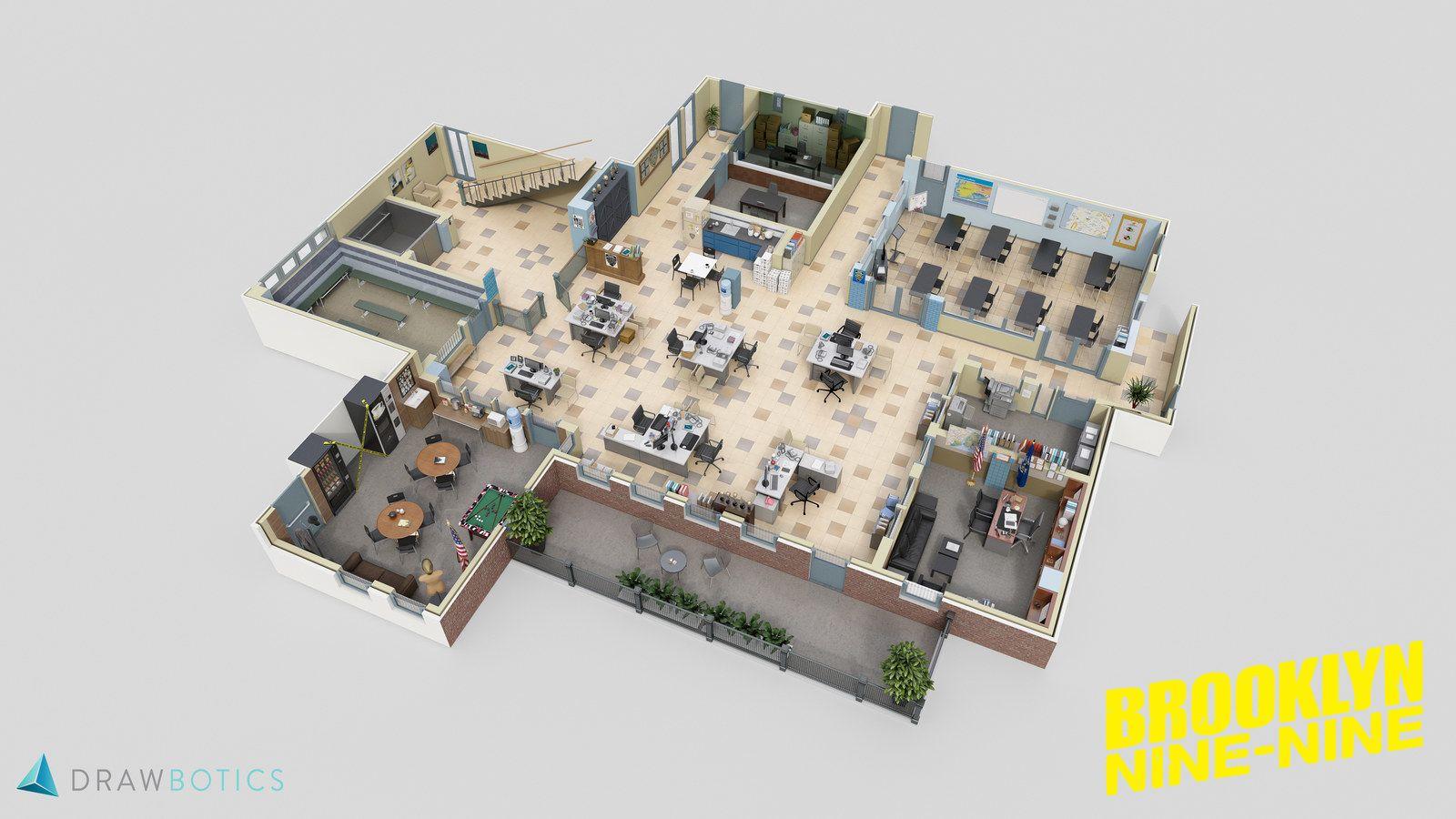 7 Incredibly Detailed 3d Floor Plans Of Your Favorite Tv Shows Floor Plans Brooklyn Nine Nine Office Floor Plan