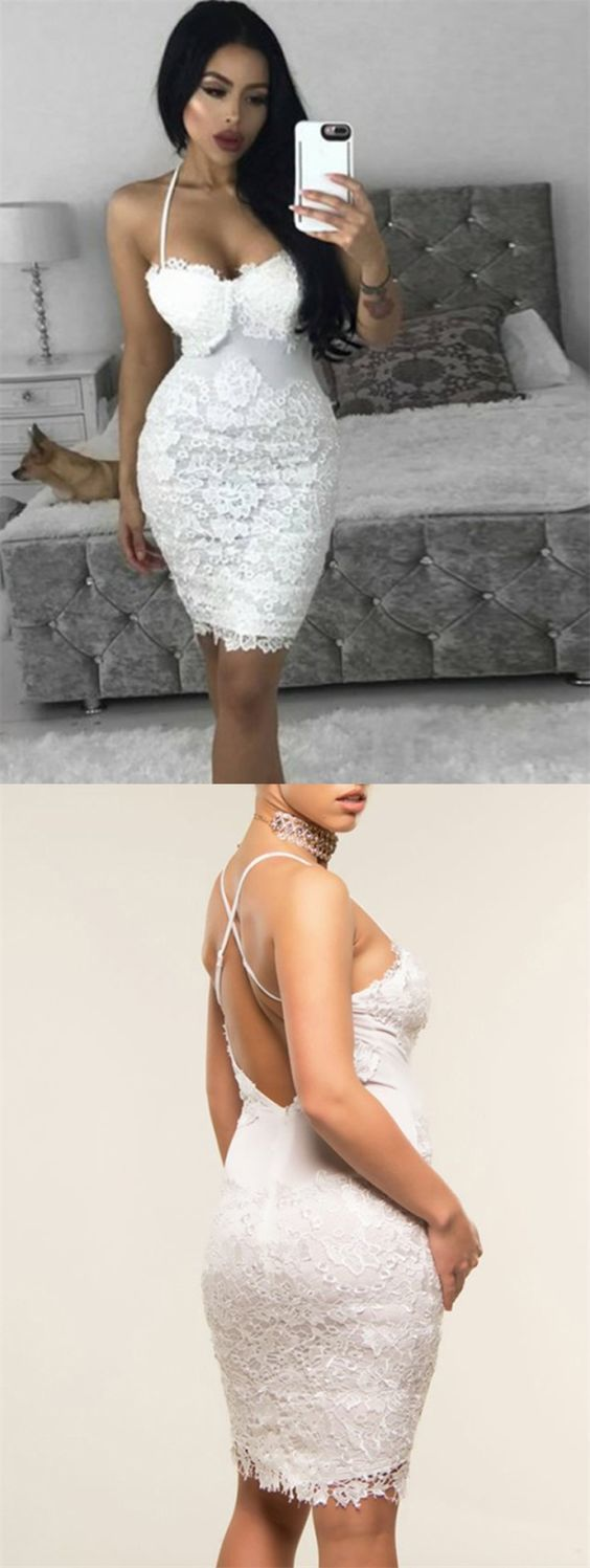 Sheath Spaghetti Straps Short White Cocktail Dress with Lace in