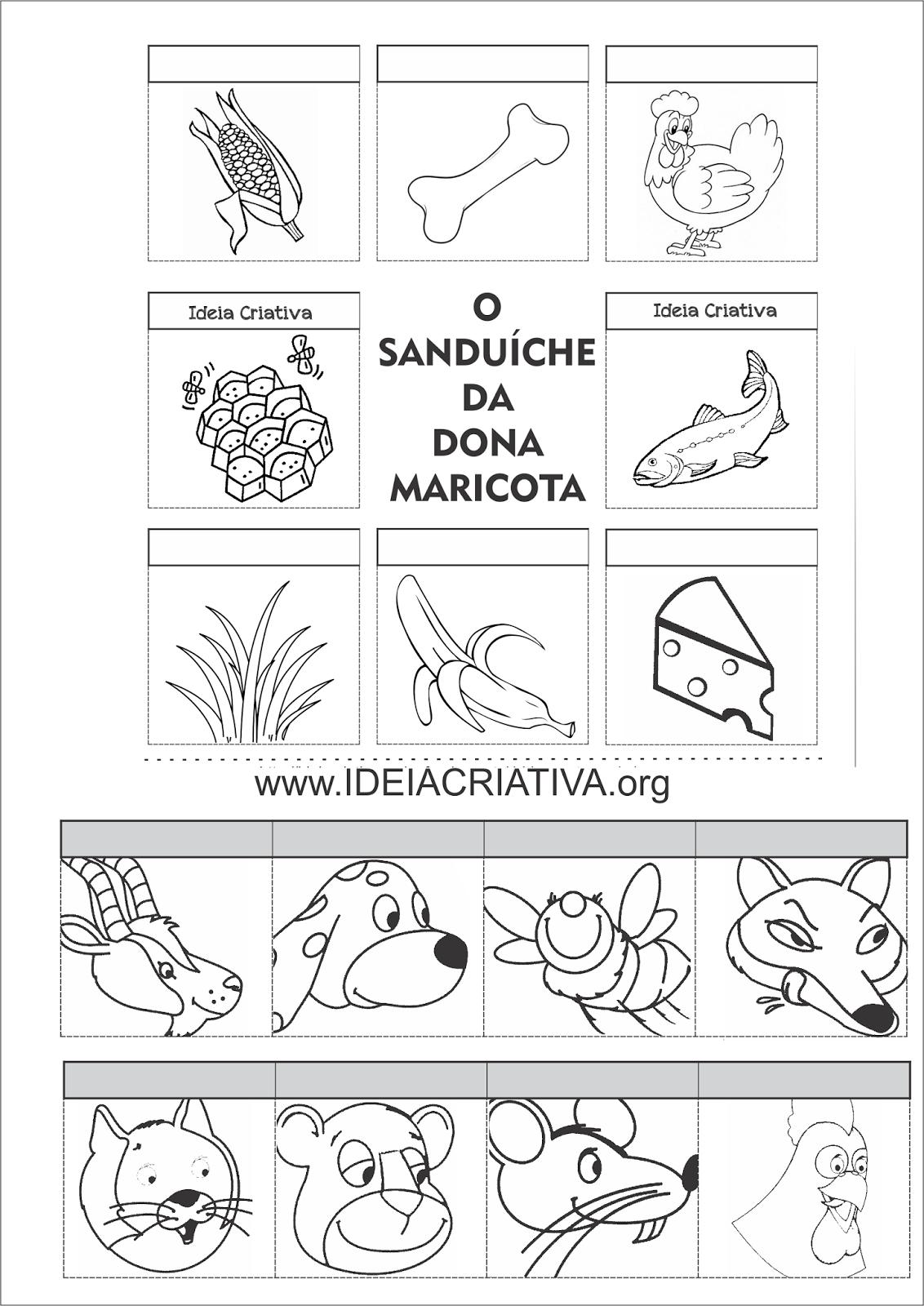 Atividade O Sanduiche Da Dona Maricota Recortem E Colagem O