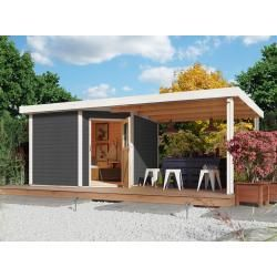 Karibu Woodfeeling Gartenhaus Set Neuruppin 3 28 mm terragrau inkl. 2,6 m Anbaudach Karibukaribu