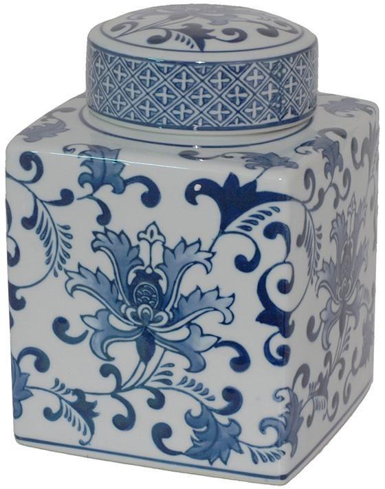 Briton Square Ceramic Jar Jars Decorative Jar Blue And White Jars Blue And White Ceramics Ceramic Jars Blue White Decor White Ceramics