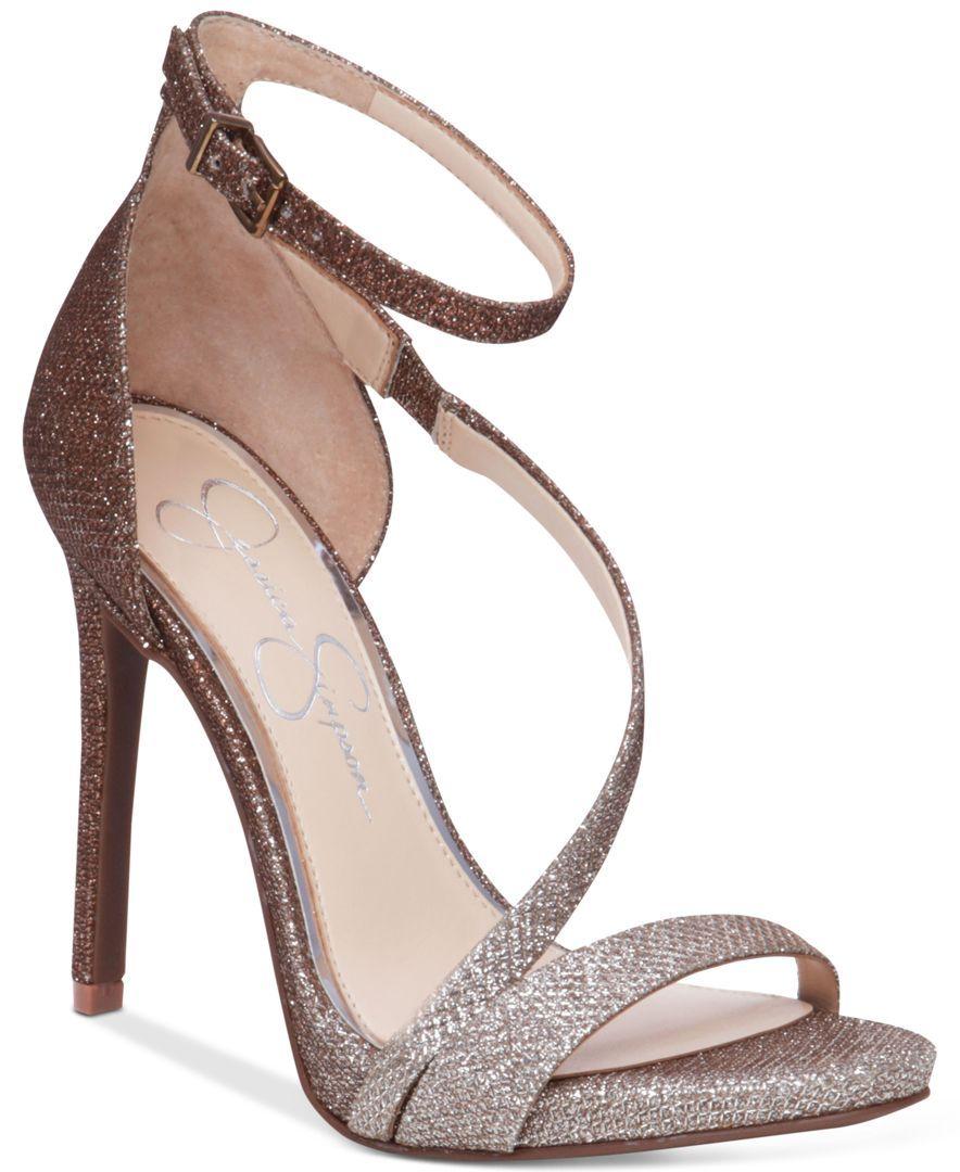 Jessica Simpson Rayli Metallic Sparkle Fabric Strappy Dress Sandals VsC6QLC