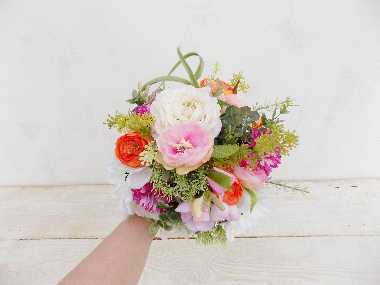Boho cascading bridal bouquet artificial silk flowers rustic woodland cascade bouquet Spring Summer wedding