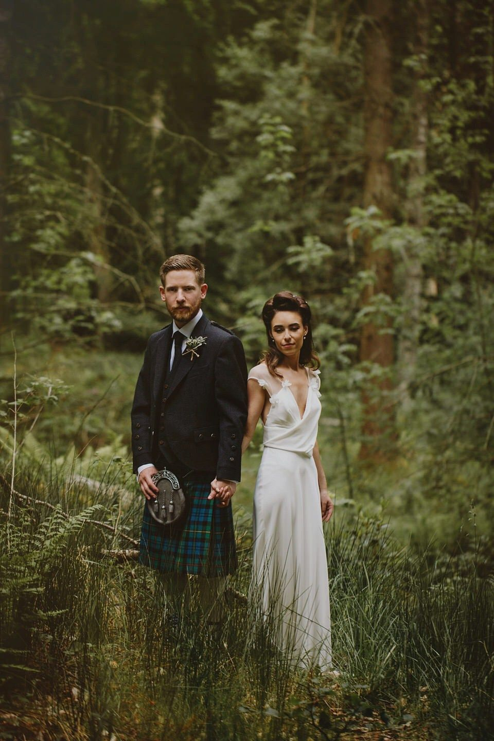 Scottish tartan wedding dress  A David Fielden Gown For A Relaxed and Nature Inspired Scottish