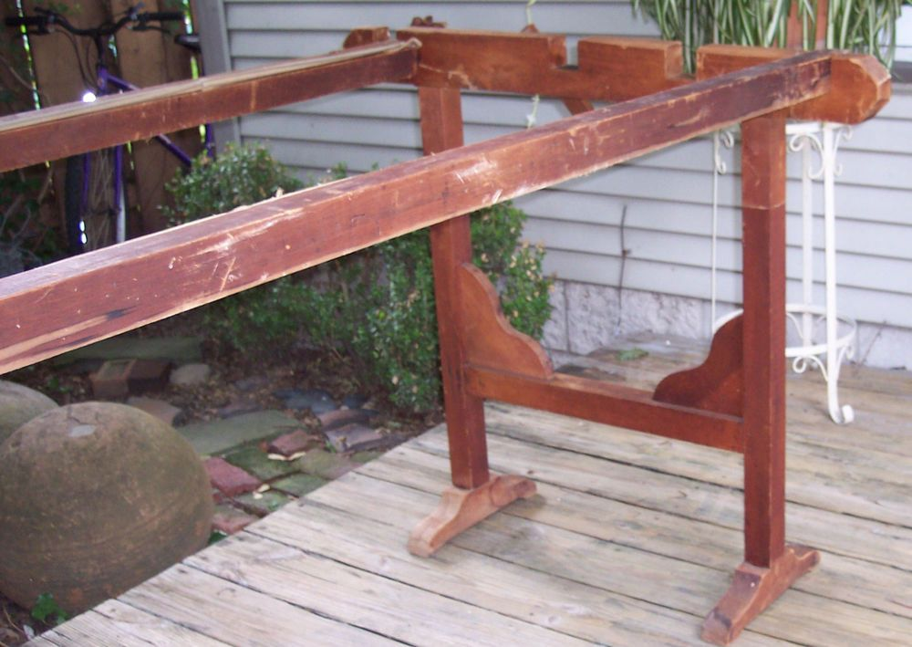 Antique quilting frame old reddish finish on pine wood 7\' 9\