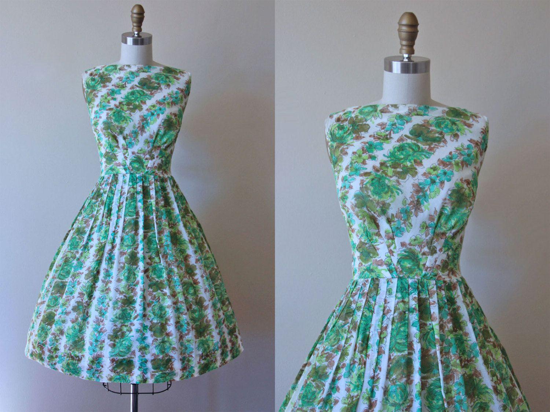 50s Dress - Vintage 1950s Dress - Green Olive Rose Print Cotton Full ...