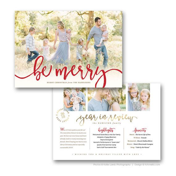 Year In Review Christmas Card  Holiday Newsletter Card Template