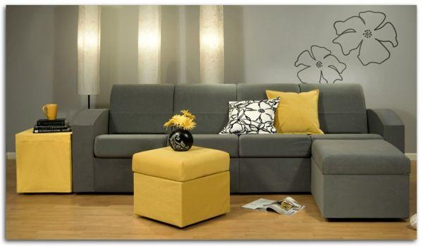 Dekokissen in gelb und grau im Wohnzimmer.   Wohninspirationen ...