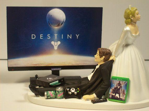Destiny Xbox One Funny Gamer Wedding Cake Topper Par