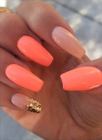 Neon Coral Nude Nails With Ombre Glitter Tip On The Pinky Nailart Nails In 2019 Coral