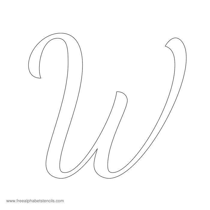 Cursive Alphabet Stencil W | letras | Pinterest | Cursive ...