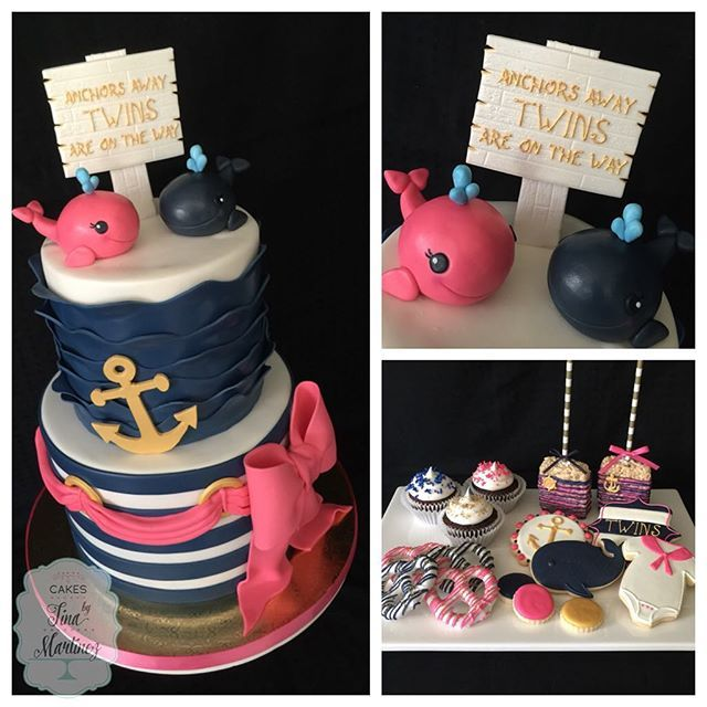 Navy blue and pink nautical themed baby shower for twins...girl ...