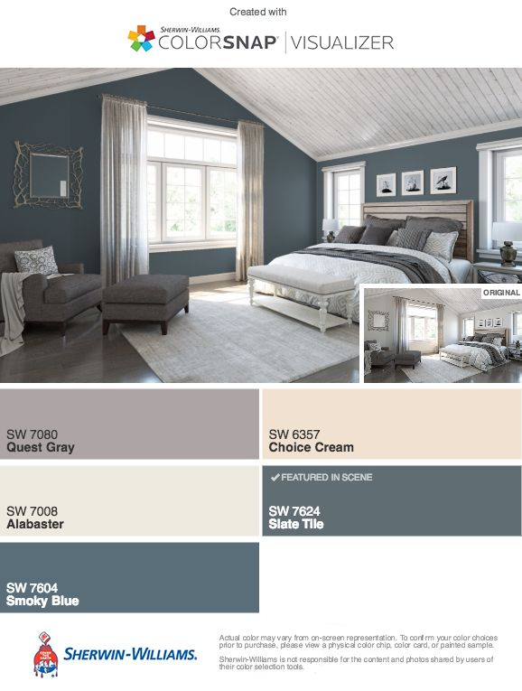 Click To See Master Bedroom Smoky Blue Sherwin Williams Relaxing Master Bedroom Bedroom Paint Colors Master Blue Master Bedroom