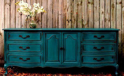 mavi renkli nostaljik istikbal mobilya sifonyer modeli customiser meuble meubles peints repeindre
