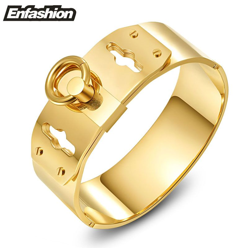 f5f13db8004 Enfashion Jewelry Circle Ring Wide Cuff Bracelet Noeud armband Gold color  Bangle Bracelet For Women Bracelets Manchette Bangles