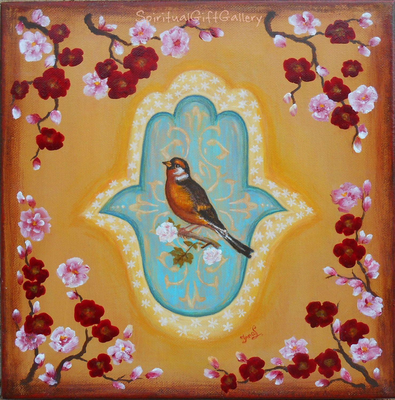 Hamsa Wall Decor original hamsa painting on canvas 12 x 12 hamsa home blessings