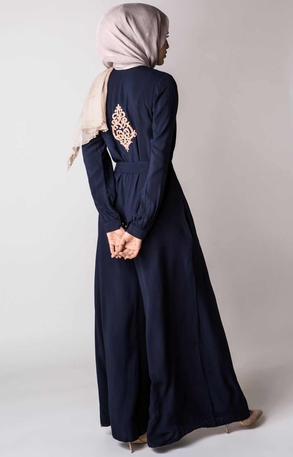 Anchor Neem Jumpsuit Back View Hijab Fashion