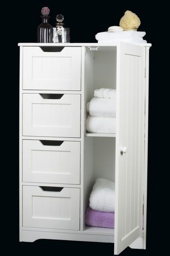 White Wooden Storage Cabinet With Drawers And Door Bathroom
