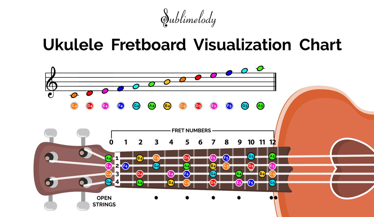 Notes Of Music Staff And Ukulele Fretboard Ukulele Learn Piano Learn Piano Notes Reading music notation for guitar